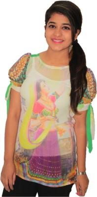 NITRA Party, Casual, Beach Wear, Festive, Lounge Wear Puff Sleeve, Petal sleeve Graphic Print Women's Multicolor Top