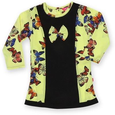 Dreamszone Casual 3/4 Sleeve Printed Girl,s Yellow, Black Top