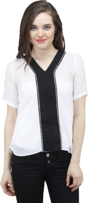 Osumfab Casual Short Sleeve Solid Women's White Top