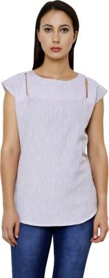 Dhrohar Formal Short Sleeve Solid Women,s Purple Top