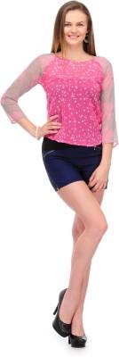 1OAK Casual 3/4 Sleeve Printed Women's Pink Top