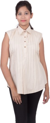 Juee Casual Sleeveless Solid Women,s Beige Top