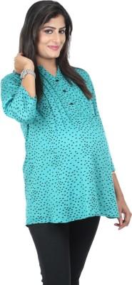 Kriti Western Maternity Formal 3/4 Sleeve Printed Women's Green Top
