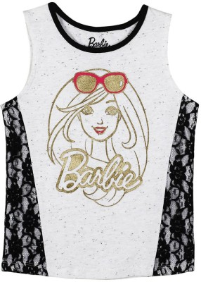 Barbie Casual Sleeveless Graphic Print Girl's Black, Grey Top