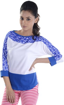 Veakupia Casual 3/4th Sleeve Self Design Women's Blue, White Top at flipkart