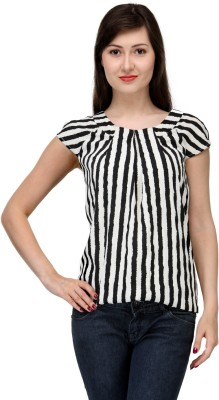India Inc Casual Short Sleeve Striped Women's Black, White Top