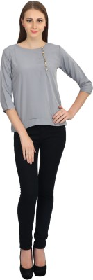 Glitterss Casual 3/4 Sleeve Solid Women,s Grey Top