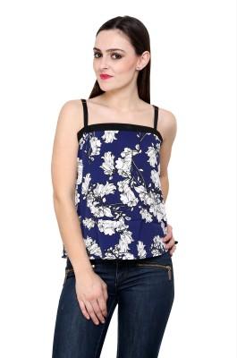 Fashley London Casual Sleeveless Printed Women,s Blue Top
