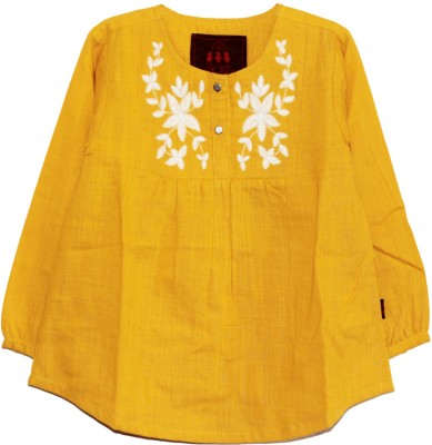 My Little Lambs Casual 3/4 Sleeve Solid Girl's Yellow Top