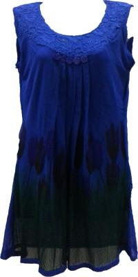 Deesha Casual Sleeveless Self Design Women's Blue Top