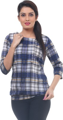 Lynda Casual 3/4 Sleeve Checkered Women's Blue Top