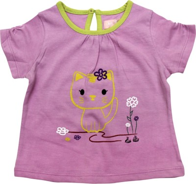 Jus Cubs Casual Cape Sleeve Printed Baby Girl's Pink Top