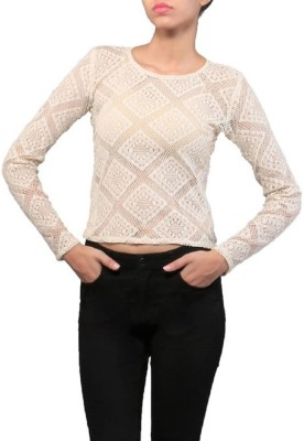 Dishomas Casual, Party Full Sleeve Embroidered Women's Beige Top