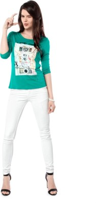 Miss Pink Casual 3/4 Sleeve Graphic Print Girl's Green Top