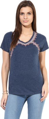 SbuyS Casual Short Sleeve Embroidered Women's Blue Top