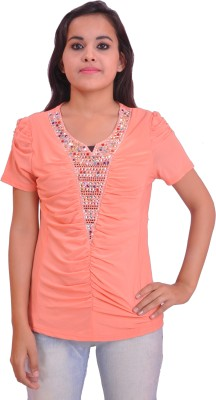 Krazzy Collection Casual Short Sleeve Self Design Women's Pink Top