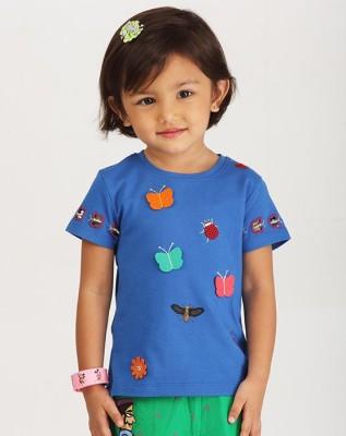 Ventra Casual Short Sleeve Applique Girl's Blue Top