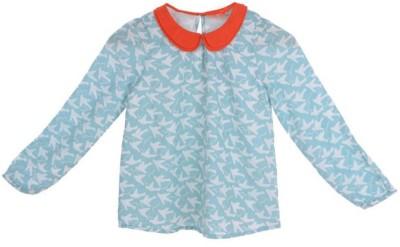 Joy N Fun Casual Full Sleeve Printed Girl's Blue Top