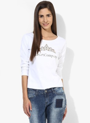T-shirt Company Casual 3/4 Sleeve Graphic Print Women's White Top