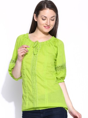 U&F Casual 3/4 Sleeve Solid Women's Green Top