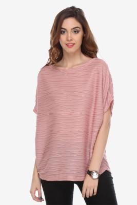 Varanga Party Kimono Sleeve Solid Women's Pink Top