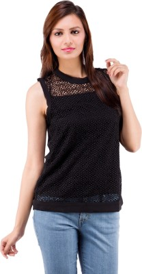 Centiaro Casual Sleeveless Solid Women's Black Top