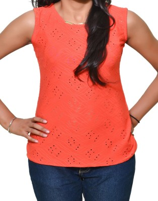 Mitra Creations Party Sleeveless Self Design Women's Orange Top