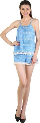 E Syrus Casual Sleeveless Printed Women,s Blue Top