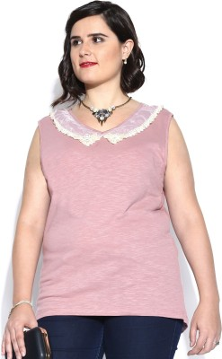 D Muse by DressBerry Casual Sleeveless Solid Women's Purple Top