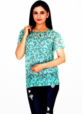 Damsel Casual Short Sleeve Floral Print Women's Green Top