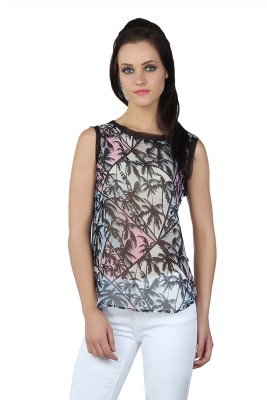 Liwa Casual Sleeveless Printed Women's Black Top