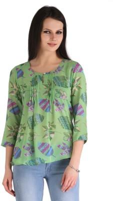 ZAIRE Casual 3/4 Sleeve Printed Women's Light Green Top
