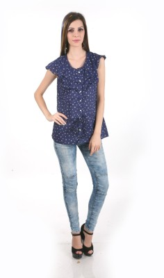 MansiCollections Casual Short Sleeve Printed Women's Blue Top