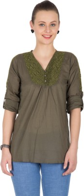 U&F Casual Roll-up Sleeve Solid, Self Design Womens Dark Green Top
