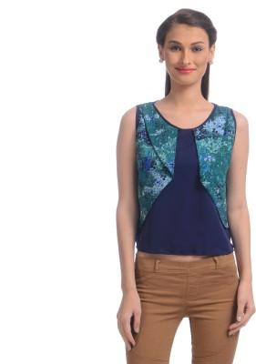 Uptownie Lite Party Sleeveless Printed Women's Blue Top at flipkart