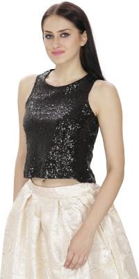 FASHMODE Casual Sleeveless Embellished Women's Black Top