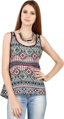 LA ATTIRE Casual Sleeveless Printed Women's Multicolor Top
