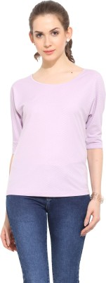 Leo Sansini Casual Short Sleeve Solid Women's Purple Top