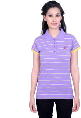 Duke Stardust Casual Short Sleeve Striped Women's Purple Top