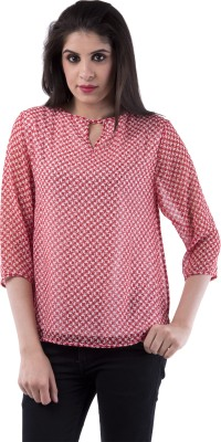 Aarr Casual 3/4 Sleeve Printed Women's Pink Top