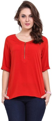 EWOWS Casual Short Sleeve Solid Women's Red Top
