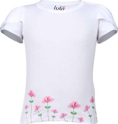 Lula Casual Short Sleeve Floral Print Baby Girl's White Top