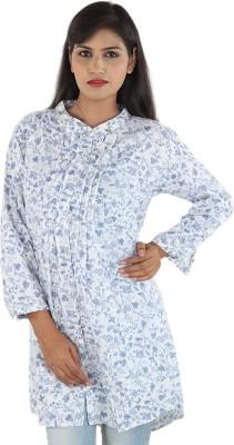 Aimeon Casual Full Sleeve Floral Print Women's White, Blue Top