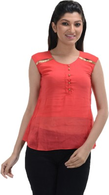 No Code Party Sleeveless Embroidered Women's Orange Top