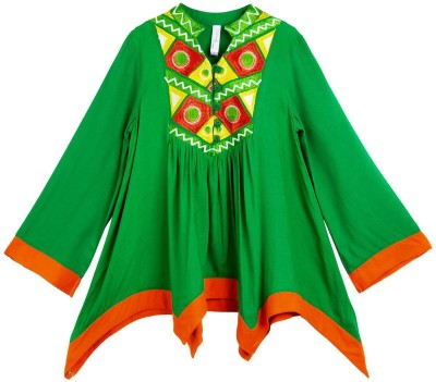Lil,Posh Casual Full Sleeve Embroidered Girl's Multicolor Top