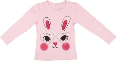 Parv Collections Casual Full Sleeve Printed Girl's Pink Top