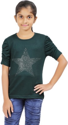 Ventra Casual Roll-up Sleeve Solid Girl's Dark Green Top
