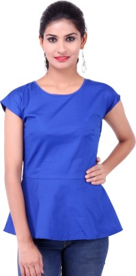 Fbbic Party Short Sleeve Solid Women's Blue Top