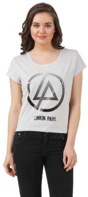 Linkin Park Casual Short Sleeve Printed Women's Light Blue, Grey Top