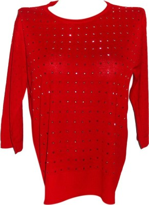 Forever 18 Casual 3/4 Sleeve Self Design Women's Red Top